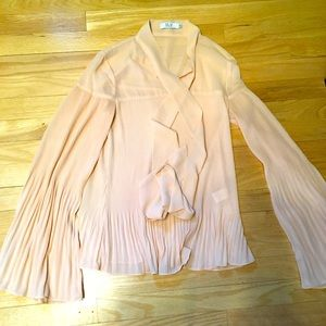 Blush pink balloon sleeve blouse